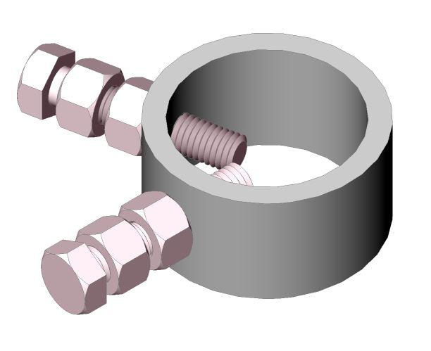 Stay bar securing collar, aluminium - 25mm x 48.4mm O.D x 39mm I.D. - incl. securing bolts
