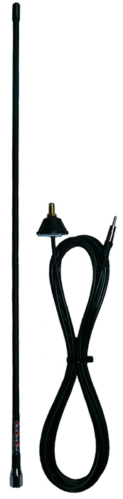 AM/FM radio receive whip antenna, black, receive only, 5m cable and base – 660mm