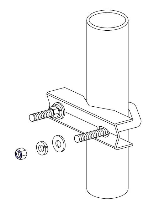 Basic galavanised U bolt and V block clamp. / Galvanised 50mm M8 Ubolt with V mounting block,