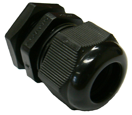 Black UV stabilised PVC cable gland (11-17mm)M25 x 1.5