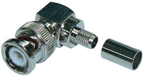 BNC right-angle male crimp connector (plug) for RG59