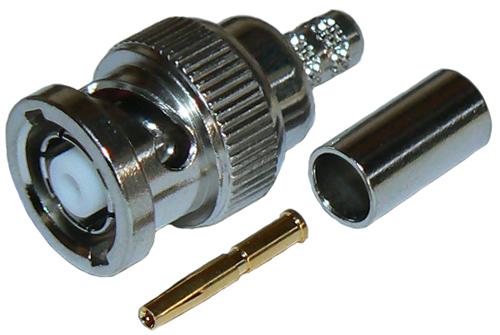 Reverse gender BNC male crimp connector plug for RG58