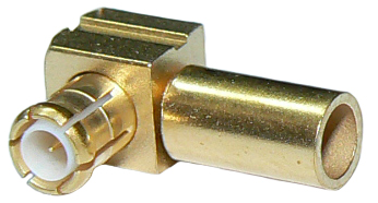 Right-angle gold plated MCX male solder ping crimp connector for RG174/ RG316