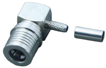 QMA 'quick-lock' right-angle version of SMA male for RG58